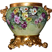 Limoges Gorgeous Lion Handled Jardiniere with Spectacular Yellow/White/Pink/Red Roses and ...