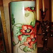 Limoges Huge Poppy Vase Signed by Artist
