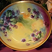 Vibrant HP Limoges Bowl with Violets Signed Duval