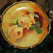 Limoges Two Handled Cake Plate Yellow Roses Signed A. Broussillon