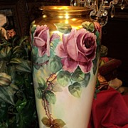 "Huge 17.5"" Limoges Signed Vase Pink/Red Roses with Heavy Gold"