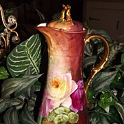Limoges Beautiful Chocolate Pot Pink/Yellow/Red Roses