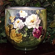 Gorgeous Limoges Signed Jardiniere/Planter/Vase with White/Red/Yellow Roses