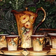 Limoges Amazing Chocolate Set: Pot/Cups/Saucers Covered in Golden Yellow Roses; Signed and ...