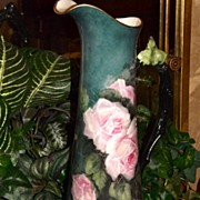 Limoges Incredible Teal and Green Tankard/Pitcher with Unbelievably Gorgeous Pink Roses and Tw