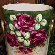 Limoges Signed HUGE Cache Pot/Jardiniere/Vase with Red Roses and Gold Ringed Handles