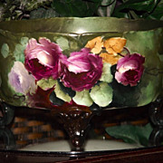 Limoges Large Footed Ferner/Jardiniere/Vase with Gorgeous Red/White/Pink Roses and Amazing ...