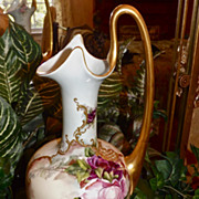 """Limoges Gorgeous 16.5"""" Tall Ewer With Pink/Red Roses and Heavy Raised Gold Paste ..."""