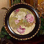 Limoges Large Porcelain Plaque with Pink and White Roses Ebony and Gold Embellished Old Wood .