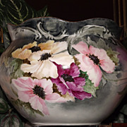 Limoges Curly Rimmed Jardiniere/Vase Multi Colored Poppies