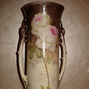 Large and Impressive Austria Vase with Double Handles and Gorgeous Roses
