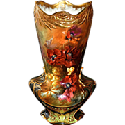 "Colossal 22"" Royal Bonn Vase With Vibrant Orange Poppies and Yellow Roses and Heavy Gold"