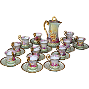 Limoges Breathtaking Chocolate Service Set Covered in Romantic Pink, Yellow and Red Roses with