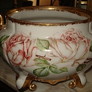 Limoges Signed Jardiniere/Ferner with Gold Swan Handles and Pink Roses