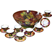 Limoges Enormous Grape Inspired Hand Painted Punch Bowl with Seven Matching Cups/Saucers