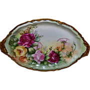 Limoges Beautiful Platter Covered in Roses with Gold/Black Etching