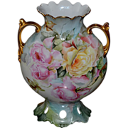 Limoges Fabulous Reticulated Vase with Different Colored Roses Covering Both Side