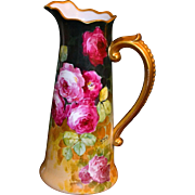 Limoges Wonderful Tall Hand Painted Rose Pitcher with Scrolled Gold Encrusted Beaded Handle ..