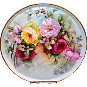 Limoges Exquisite Huge Hand Painted Signed Porcelain Tray with Stunningly Executed Red, Pink .