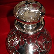 Large Magnificent Silver Overlay Glass Perfume Bottle
