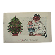 A Joyful Christmas Postcard Girl Holding Doll Besides The Tree