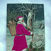SOLD Santa Christmas Postcard With Silk Applique To Robe And Hat Made In Germany - Red Tag Sal