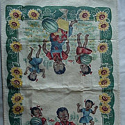 Black Americana Dish Towel Kids In The Watermelon Patch 1940's