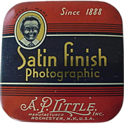 SOLD Black Americana Satin Finish Photographic Advertising Tin Black Boy In Corner
