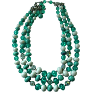 SALE Coro Three Strand Beaded Necklace