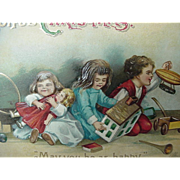 SOLD Ellen Clapsaddle Signed Christmas Postcard Germany Children Playing With Toys