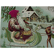 SALE Santa In Sleigh Christmas Postcard With Silk Cloth Hat