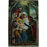 Nativity Scene Christmas Postcard Embossed Three Kings