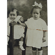 SALE Black Americana Rppc Postcard Two Sweet Children Kids Posing One Sitting One Standing