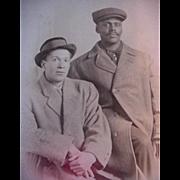 Black Americana Rppc Real Postcard Two Men In Top Coats Schreick's Cute Studio In ...