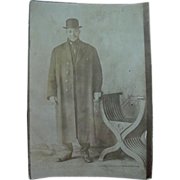 SOLD Black Americana Photo Rppc Real Postcard Man In Bowler Hat And Overcoat And Cigar In Mout
