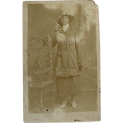 Black Americana Rppc Real Photo Postcard Woman Posing In Hat Fur Trimmed Coat And Gloves