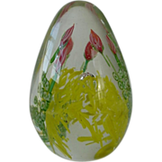 SALE Large Egg Shaped Paper Weight Lovely Flowers Design