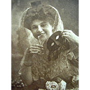 Edwardian Halloween Postcard 1909 Lady Holding Mask And Glass
