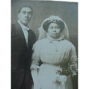 SALE Black Americana Bride And Groom Wedding Photo Cabinet Card Late 1890's Arkansas City Kans