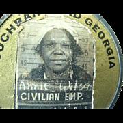 SOLD Black Americana Worker Employee Photo Id  Badge 1930s-40s  Cochran Field Georgia