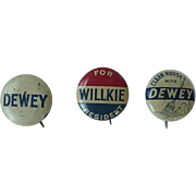 Clean House With Dewey Political Button Lot of 3 Buttons  Dewey For President Willkie