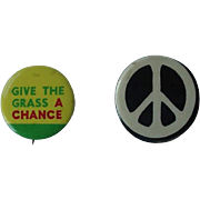 Give The Grass A Chance 1960s Hippie Marijuana Political Peace Statement Pin Button Lot of ...