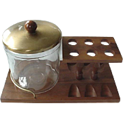 Walnut Duk It Glass Humidor Pipe Stand Holds Six Pipes