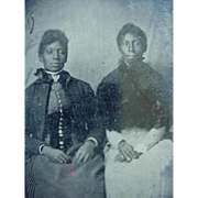 Back Americana Photo Tintype Two Well Dressed Ladies Sitting