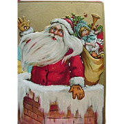 Tucks Incised Christmas Postcard Santa Waving As He Goes Down Chimney Moon Looks On
