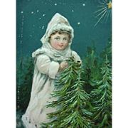 Christmas Greetings Incised Postcard Girl Dressed In White Standing By Two Evergreen Trees Pri