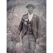 SOLD Black Americana Tintype Photo Well Dressed Man