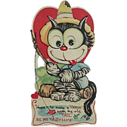 Valentine Day Mechanical Card Cat With Moveable Eyes