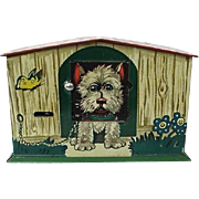 Tin Lithograph Dog House Bank Money Box Made In Germany USA Zone