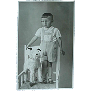 Boy Posing With Pull Toy Schnauzer Dog Photo Photograph Postcard
